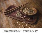 seeds of green buckwheat ...   Shutterstock . vector #490417219