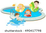 four kids having fun in the... | Shutterstock .eps vector #490417798
