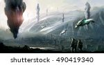 science fiction scene. | Shutterstock . vector #490419340