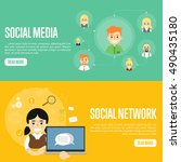 social network people and... | Shutterstock .eps vector #490435180