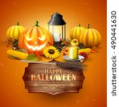traditional halloween greeting... | Shutterstock .eps vector #490441630