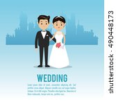 wedding and marriage couple... | Shutterstock .eps vector #490448173