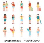 people traveling isolated on... | Shutterstock .eps vector #490450090
