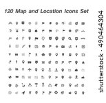 120 map and location icons set | Shutterstock .eps vector #490464304