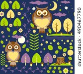 seamless pattern with night... | Shutterstock .eps vector #490467790