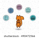 Squirrel And Icon Set. Animal...