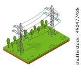 Power Lines Pylons. Landscape...