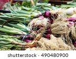 onions on the market in... | Shutterstock . vector #490480900