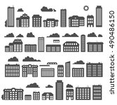 silhouettes of buildings. urban ... | Shutterstock .eps vector #490486150