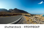mountain road at eastern coast... | Shutterstock . vector #490498069