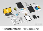 isometric branding office mock... | Shutterstock .eps vector #490501870