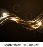 golden liquid smooth waves on...   Shutterstock .eps vector #490505629