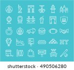 set vector line icons in flat... | Shutterstock .eps vector #490506280