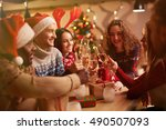 toast for xmas | Shutterstock . vector #490507093
