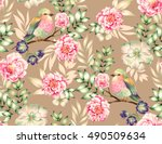 bird pattern. seamless heavenly ... | Shutterstock . vector #490509634