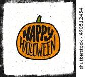 happy halloween vintage... | Shutterstock .eps vector #490512454