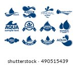 blue logos set. label for... | Shutterstock .eps vector #490515439
