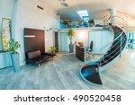 modern office interior. glasses ... | Shutterstock . vector #490520458