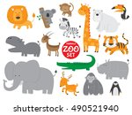 cute zoo animals vector set | Shutterstock .eps vector #490521940