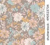 botanical seamless pattern with ... | Shutterstock . vector #490523734
