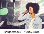 portrait of a young black woman ... | Shutterstock . vector #490526806