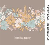 floral seamless border with... | Shutterstock .eps vector #490528159