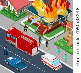 firefighters extinguish a fire... | Shutterstock .eps vector #490538248