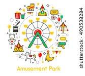 amusement park line art thin... | Shutterstock .eps vector #490538284
