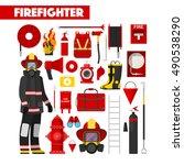 profession firefighter vector... | Shutterstock .eps vector #490538290