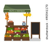 farm shop. local stall market.... | Shutterstock .eps vector #490541170