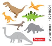 dinosaurs vector stock set | Shutterstock .eps vector #490548004