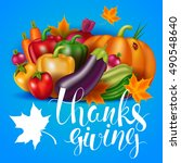 thanksgiving day card with... | Shutterstock .eps vector #490548640