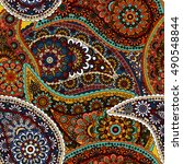seamless paisley background.... | Shutterstock .eps vector #490548844