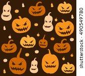 halloween seamless patterns. | Shutterstock .eps vector #490549780