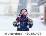 Winter Portrait Of Kid Boy In...