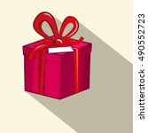 gift box. red and pink retro... | Shutterstock . vector #490552723