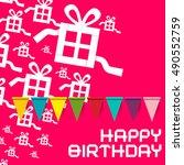 happy birthday. birthday pink... | Shutterstock . vector #490552759