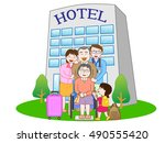 the family who stays at the...   Shutterstock .eps vector #490555420