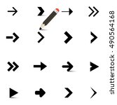 arrows icons set with pencil... | Shutterstock . vector #490564168