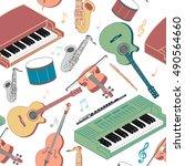 musical instruments seamless... | Shutterstock .eps vector #490564660