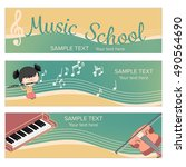 musical instrument web banner... | Shutterstock .eps vector #490564690