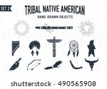 hand drawn tribal icons set... | Shutterstock .eps vector #490565908
