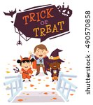 halloween background with kids... | Shutterstock .eps vector #490570858