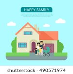 happy family in the yard of...   Shutterstock .eps vector #490571974