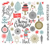 christmas holiday icons. merry...   Shutterstock .eps vector #490573153