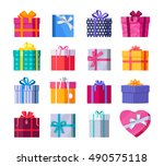 set of colorful gift boxes with ... | Shutterstock .eps vector #490575118