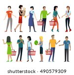 set of customers and sellers... | Shutterstock .eps vector #490579309
