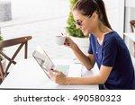 enjoying morning coffee ... | Shutterstock . vector #490580323