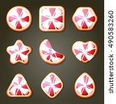 set of pink grapefruit candies... | Shutterstock .eps vector #490583260