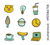set of patches and stickers ... | Shutterstock .eps vector #490586758